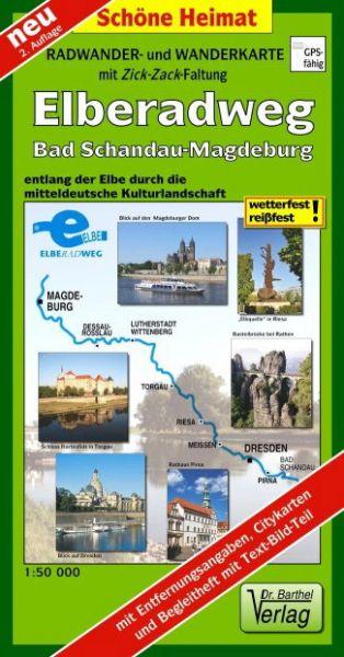 Radwander- und Wanderkarte mit Zick-Zack-Faltung »Elberadweg, Bad Schandau-Magdeburg«