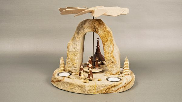 Pyramide Kurrende Seiffener Kirche braun