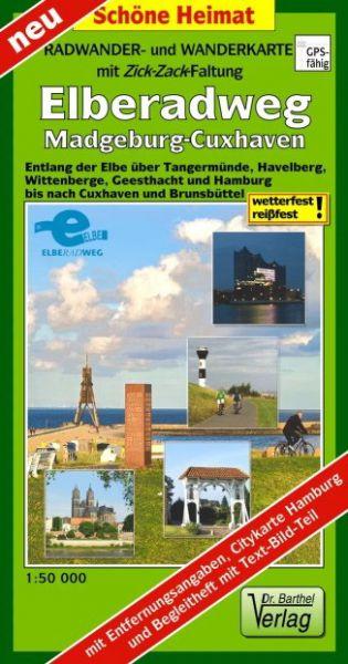 Radwander- und Wanderkarte mit Zick Zack Faltung »Elberadweg, Magdeburg-Cuxhaven«